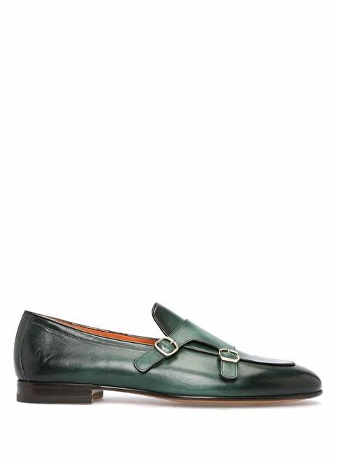 Santoni %100 Deri Loafer Ayakkabı Yeşil